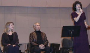 "2/2005 Norwalk, CT John Corigliano, the Academy Award-winning composer of the filmscore to ""The Red Violin"" with conductor Diane Wittry in a pre-concert talk at the Norwalk Symphony."