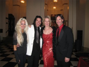 With friends violinist Natalie Leggett, record producer Scott Humphrey and actor Darren Reul post Royce Hall concert 12/7/08