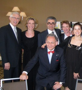 Fritz Coleman, Elizabeth Pitcairn, Eugene Levy, Martin Short, Danielle Nesmith, and Boris Brott, center.