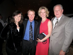 With Showtime fight announcerJimmy Lennon, Jr., wife Christine and Robert Lipsett at Disney Hall for the Colburn School Gala, April 09