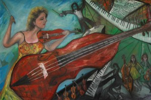 "Painting by Alex Mendelssohn of Australia, descendant of composer Felix Mendelssohn, inspired by Elizabeth and the  ""Red Mendelssohn"" Stradivarius of 1720, formerly owned by descendants of F. Mendelssohn."