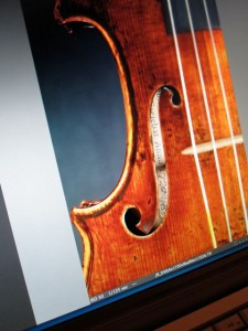 Label of the Red Mendelssohn Stradivarius of 1720 from a photo shoot for an upcoming book on Stradivarius violins.