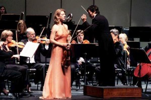 9/29/2007 Elizabeth on stage, waiting for her entrance, while Carlo Ponti, Jr. conducts the San Bernardino Symphony Orchestra.